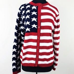 Sweaters - American Flag Button Front Knit Sweater Cardigan
